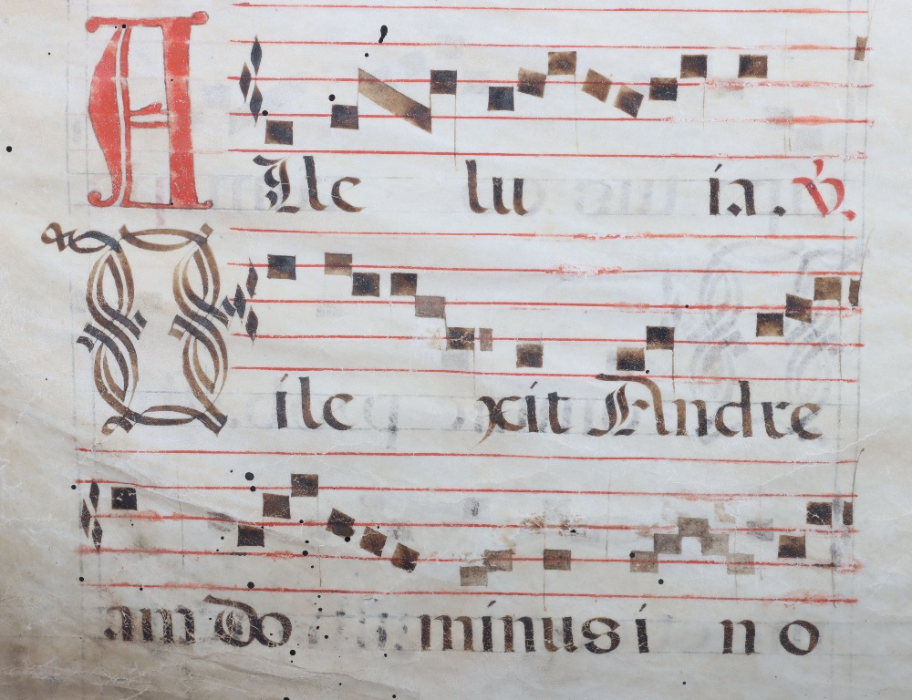 An 18th century velum page of antiphonal choral script - Image 4 of 4