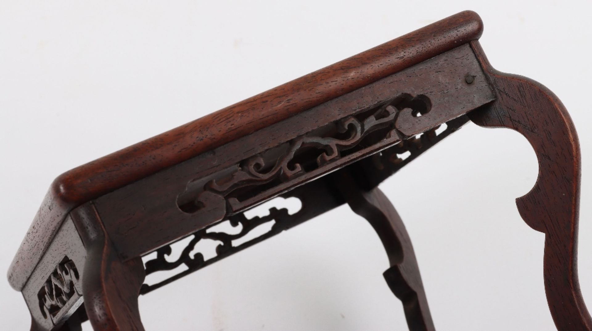 A 19th century small Chinese hardwood carved candle stand - Image 6 of 6