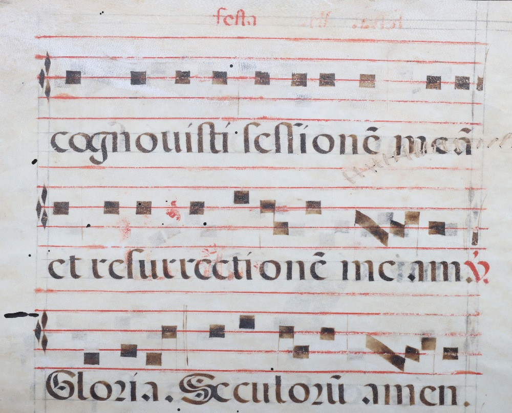 An 18th century velum page of antiphonal choral script - Image 2 of 4
