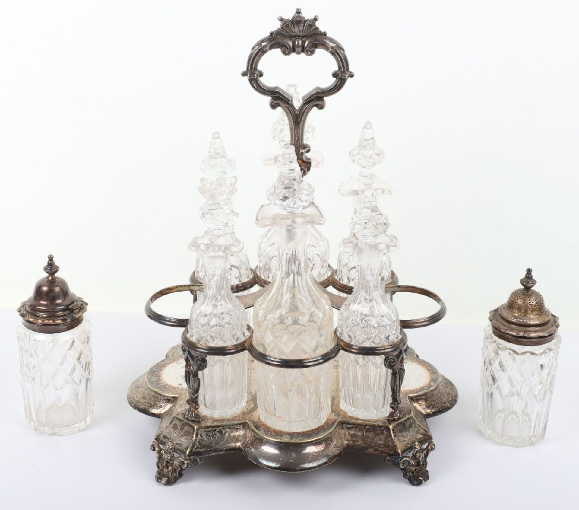 A Victorian silver and silver plated glass cruet set - Image 9 of 23