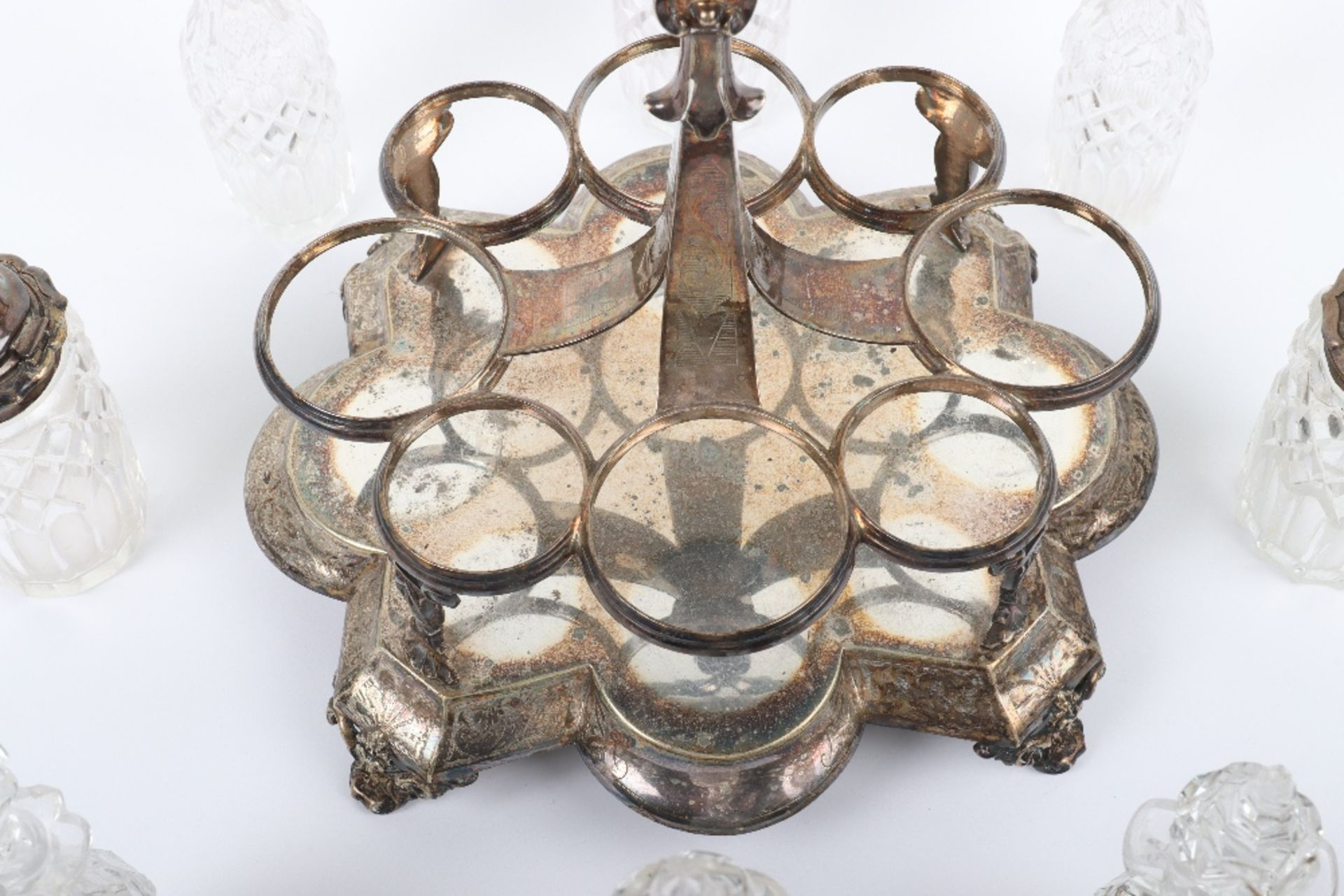 A Victorian silver and silver plated glass cruet set - Image 11 of 23