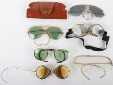 Grouping of Vintage Aviators Sun Glasses / Anti-Glare Flying Glasses