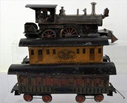 A rare and early gauge I Beggs 4-4-0 live steam locomotive with original Passenger and U.S Postal ca