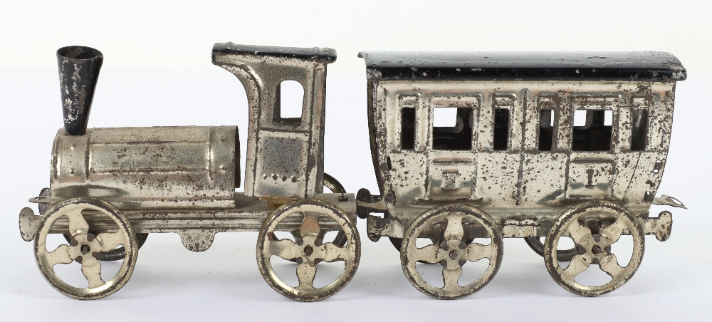 Early Meier pressed tinplate locomotive and carriage penny toy, German circa 1900