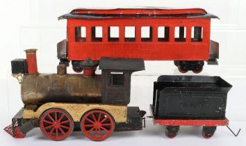 A Weeden Dart live steam locomotive, tender and Passenger coach, American circa 1890