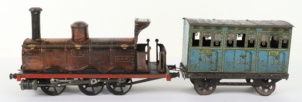 A rare C.R (Rossignol) tinplate 0-6-0 clockwork floor train 'Ouest' and passenger coach - Image 3 of 4