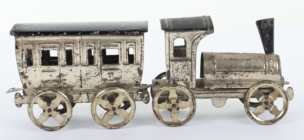 Early Meier pressed tinplate locomotive and carriage penny toy, German circa 1900 - Image 3 of 6
