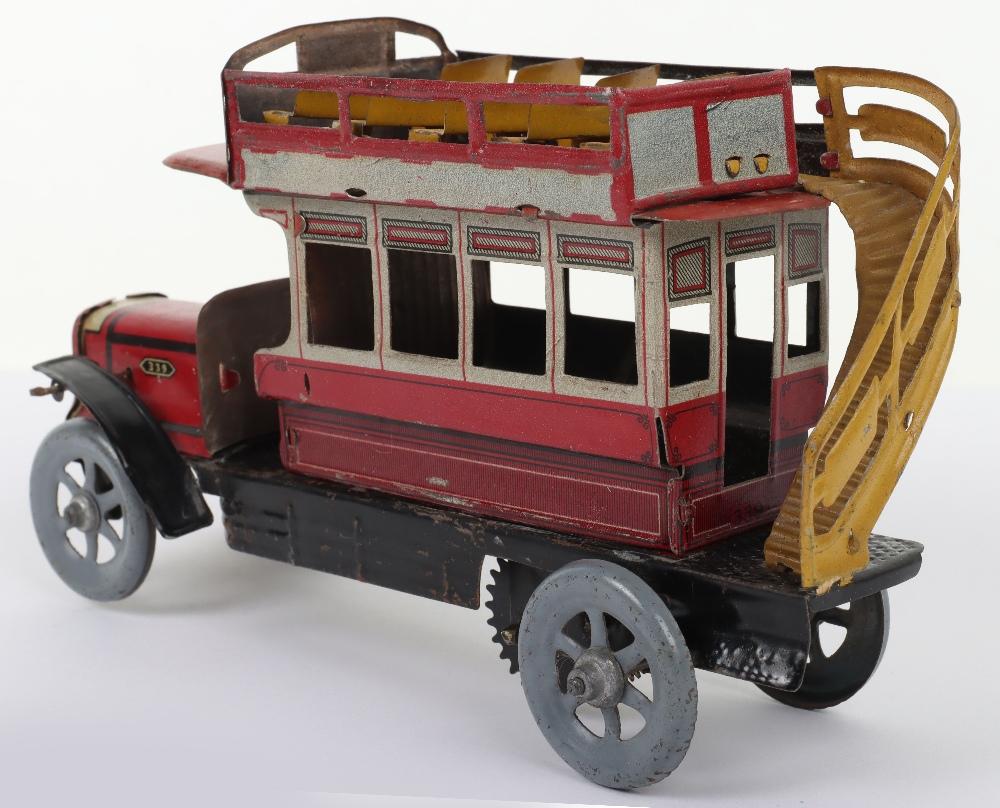 A Scarce Distler (German) Double Decker Tinplate Bus - Image 3 of 6