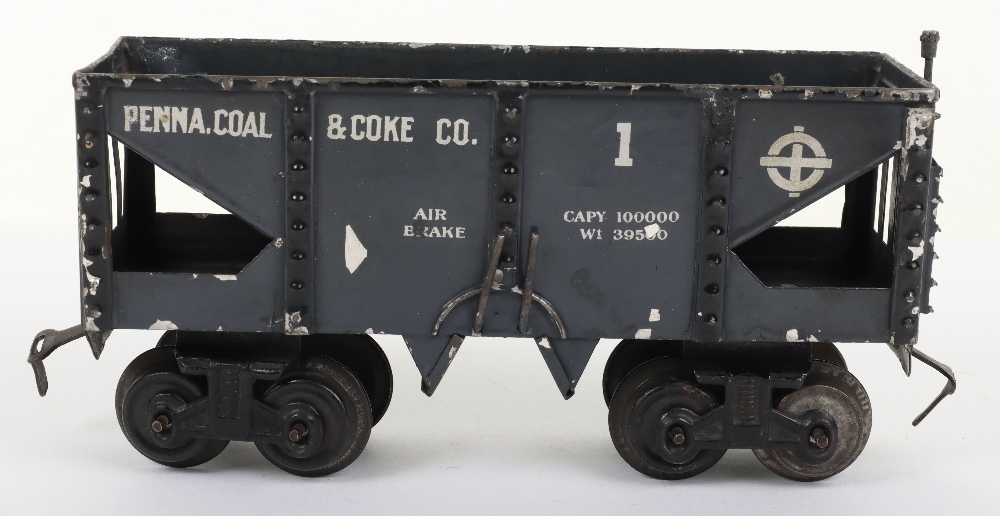 Scarce Bing gauge 0 'Penna. Coal & Coke Co.' eight-wheel bogie wagon, German circa 1914 - Image 3 of 4