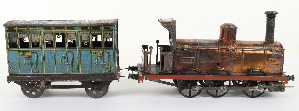 A rare C.R (Rossignol) tinplate 0-6-0 clockwork floor train 'Ouest' and passenger coach