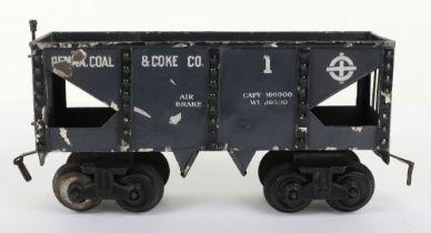 Scarce Bing gauge 0 'Penna. Coal & Coke Co.' eight-wheel bogie wagon, German circa 1914