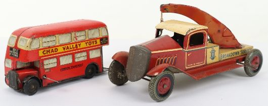 Chad Valley tinplate c/w London Transport Double Decker bus 38A