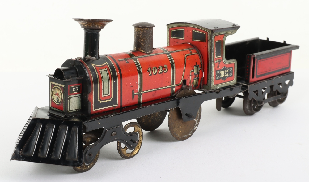Hess 1023 tinplate friction driven U.S style floor train, German circa 1905 - Image 2 of 5