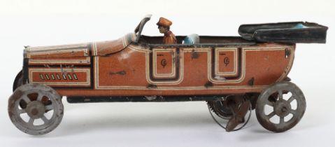 A Fischer tinplate clockwork four-seater open tourer penny toy car, German 1920s,