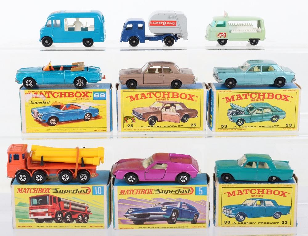 Nine Matchbox Lesney Models
