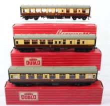 Three Hornby Dublo 00 Gauge 2-Rail Boxed Super Detail Coaches