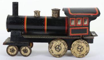 A rare small size Schoenner 4-4-0 U.S outline clockwork floor train, circa 1900