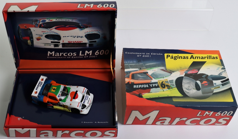 Three Boxed Fly Car Model Marcos LM 600 Slot Cars - Image 4 of 4