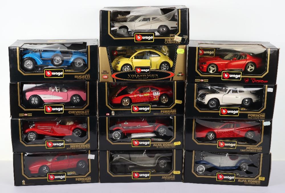 Thirteen Burago 1:18 Scale Die-cast Boxed model cars,
