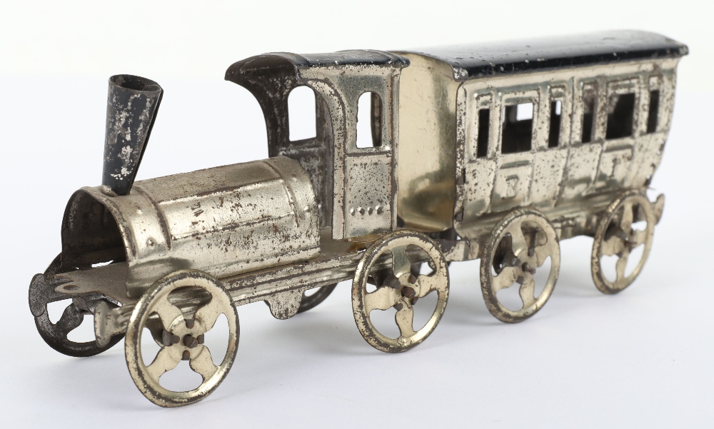 Early Meier pressed tinplate locomotive and carriage penny toy, German circa 1900 - Image 2 of 6
