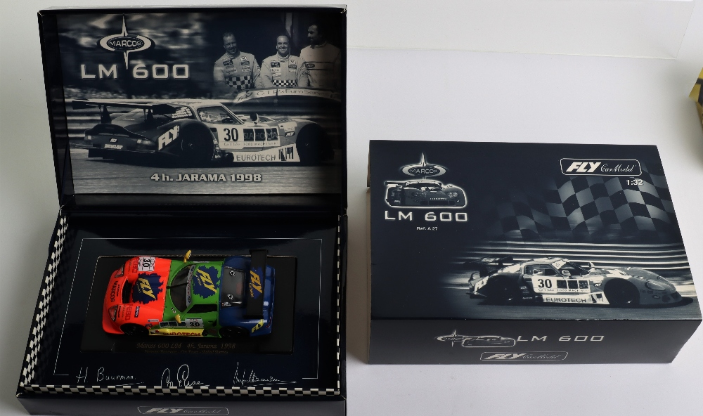 Three Boxed Fly Car Model Marcos LM 600 Slot Cars - Image 2 of 4