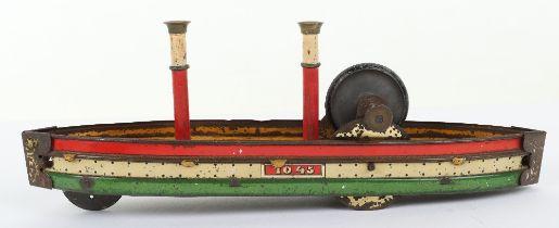 Rare Hess 1045 tinplate friction driven toy ship, German circa 1905