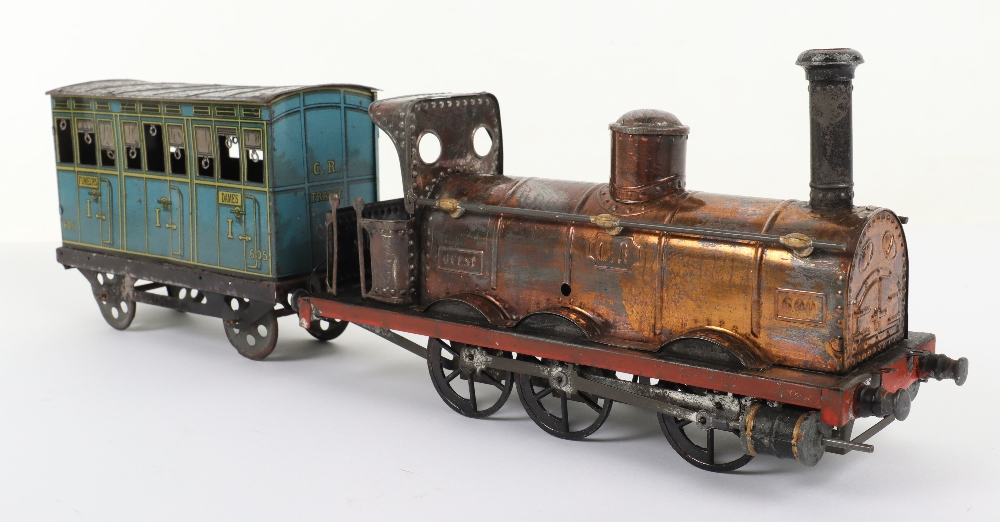 A rare C.R (Rossignol) tinplate 0-6-0 clockwork floor train 'Ouest' and passenger coach - Image 2 of 4