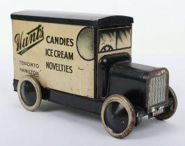 Rare B.W.& M Ltd 'Hunts Candies' Delivery Tinplate Van