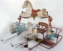 Four assorted cast metal Tri-ang and Mobo Rocking horses, circa 1960