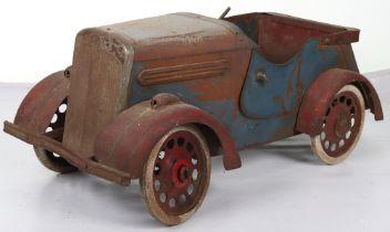 A scarce Leeway barn find pressed steel child's Saloon pedal car, English 1940s