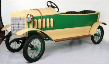 A fine pressed metal and wooden 1920s style Mercedes two-seater child's chain driven pedal car, Euro