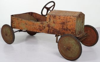 A pressed metal barn find child's pedal car, possibly Eurika French 1920s
