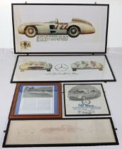 Five glazed pictures relating to Sterling Moss's Le Mans Mercedes 300SLR Sports car