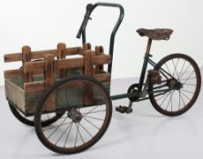 Unusual metal and wooden child's delivery tricycle, 1930s