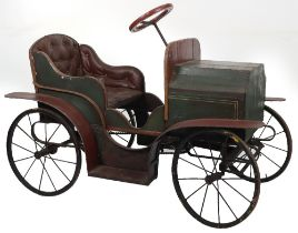 A fine Edwardian wooden vintage child's chain driven pedal car, probably English circa 1910