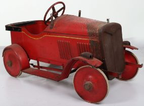A scarce Leeway pressed steel child's Saloon pedal car, English 1940s