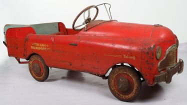 A scarce Tri-ang Commercial pressed steel child's pedal Transporter Truck, English 1950s