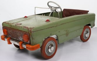 An early Moskvich pressed steel child's pedal car, Russian circa 1950