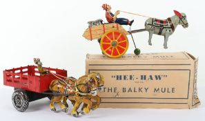 Marx (New York) tinplate Hee-Haw the Balky Mule and a Hay wagon, 1960s