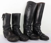 Pair of WW2 Style German Black Leather Boots