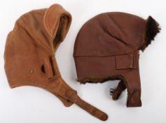 2x Early 20th Century Leather Flight Helmets