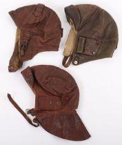 3x WW1 Period Leather Flying Helmets