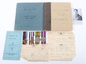 WW2 Royal Air Force Bomber Command Medal & Log Book Grouping of Flying Officer (Pilot) Ronald K Cawd