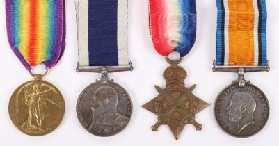 WW1 Royal Navy Long Service Medal Group of Four to Chief Sick Berth Steward W J Hicks HMS Formidable