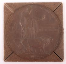 Great War Bronze Memorial Plaque Royal Naval Reserve Lieutenant One of 16 of a 26 Man Crew Lost on H