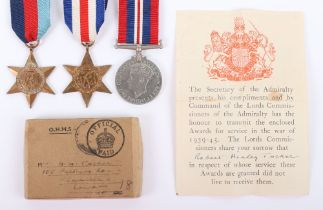 WW2 Royal Navy 1944 Casualty Medal Group of Three