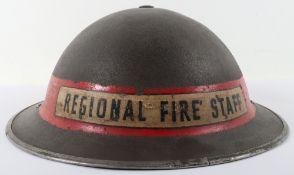 WW2 British Home Front Regional Fire Staff Steel Helmet