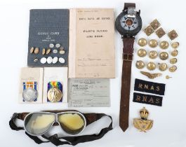 Great War Royal Naval Air Service / Royal Air Force Observers Medal & Log Book Grouping