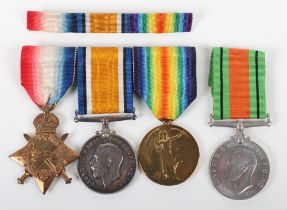 Great War Medal Group of Four to a Member of the Royal Naval Air Service Who Served in Armoured Cars
