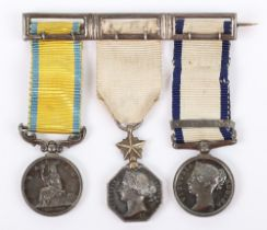 Fine Un-Attributed Group of Three Mid Victorian Naval Miniature Medal Group